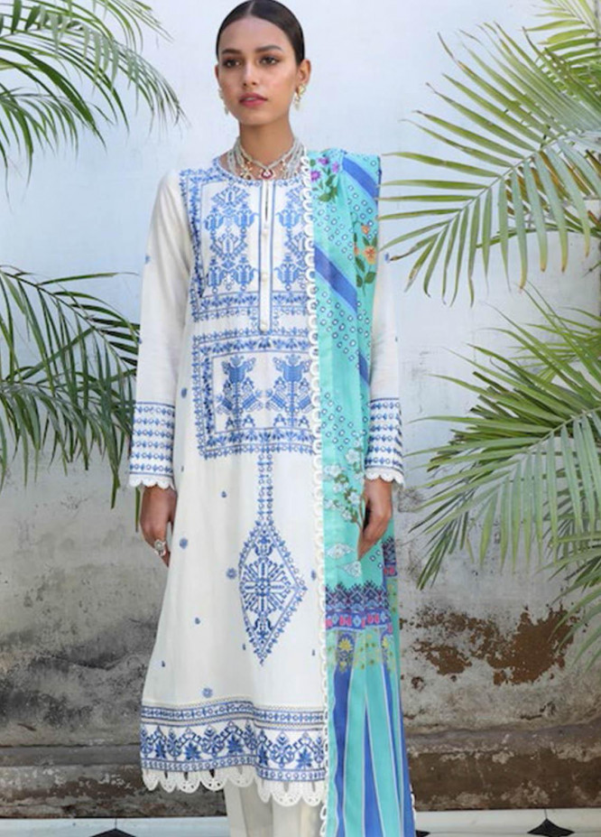 Zaha by Khadijah Shah Embroidered Jacquard Suits Unstitched 3 Piece ZKS21L ZL21-11-A BISHA - Summer Collection