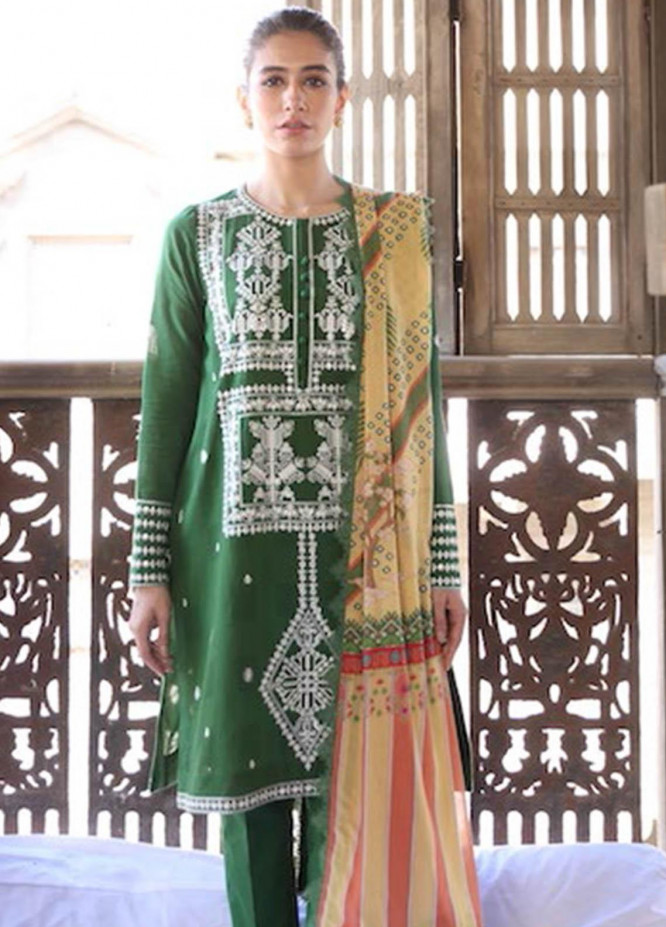 Zaha by Khadijah Shah Embroidered Jacquard Suits Unstitched 3 Piece ZKS21L ZL21-11-B BISHA - Summer Collection