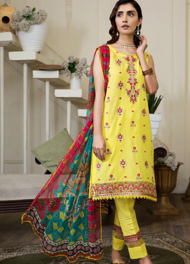 Zarif Embroidered Lawn Suits Unstitched 3 Piece ZF21F D-07 - Festive Collection
