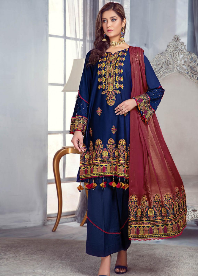 Zarqa by Mohagni Embroidered Lawn Suits Unstitched 3 Piece MO21Z 01B - Summer Collection