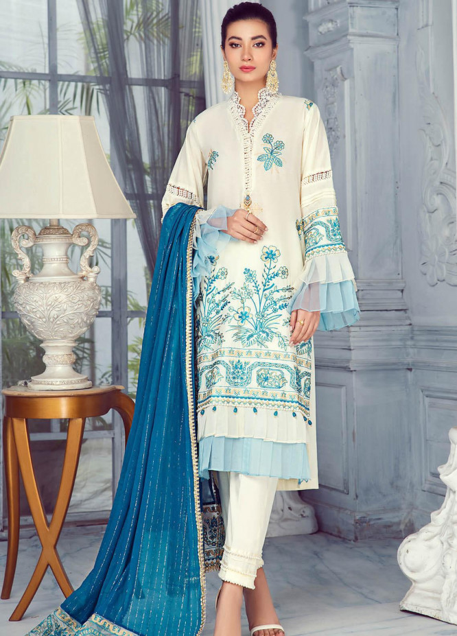 Zarqa by Mohagni Embroidered Lawn Suits Unstitched 3 Piece MO21Z 04A - Summer Collection