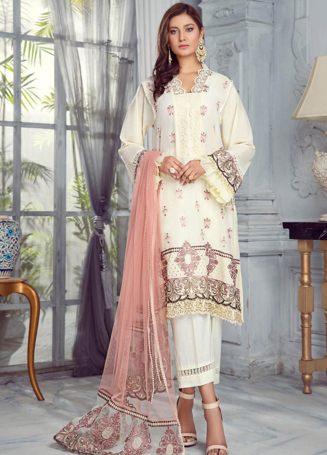 Zarqa by Mohagni Embroidered Lawn Suits Unstitched 3 Piece MO21Z 06A - Summer Collection
