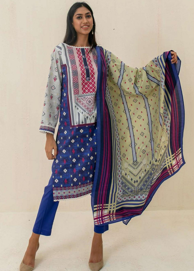 Zellbury Printed Cambric Suits Unstitched 3 Piece ZL21CB WUC21X30025 - Winter Collection