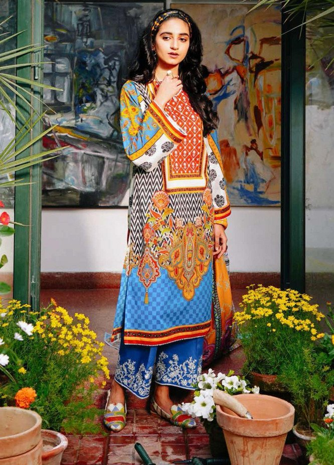 Zellbury Embroidered Lawn Suits Unstitched 3 Piece ZB21L-2 Wusce 869 - Summer Collection