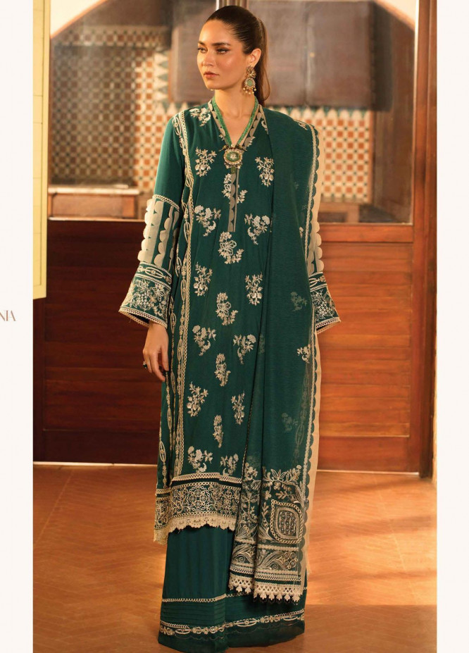 Zinnia by Rang Rasiya Embroidered Dobby Linen Suits Unstitched 3 Piece RR21ZN OCEAN TEAL-06 - Winter Collection