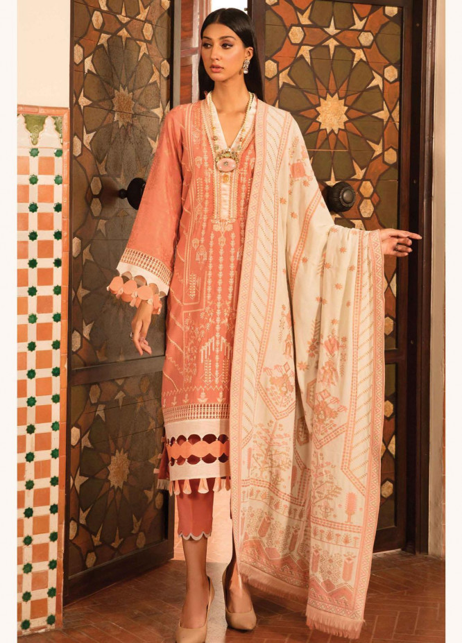Zinnia by Rang Rasiya Embroidered Linen Suits Unstitched 3 Piece RR21ZN SCARLET-04 - Winter Collection