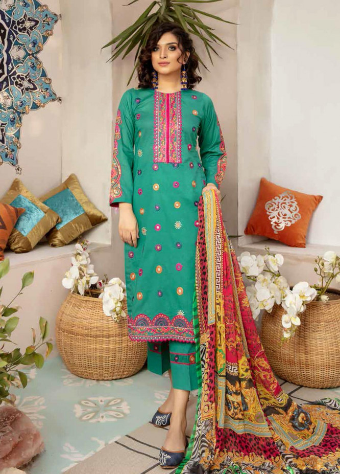 Zoha by Aymen Baloch Embroidered Lawn Suits Unstitched 3 Piece ZAB21FP 091 - Festive Collection