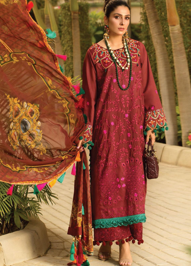 Zoha by Ansab Jahangir Embroidered Lawn Suits Unstitched 3 Piece ANJ21Z 10 Shala - Summer Collection