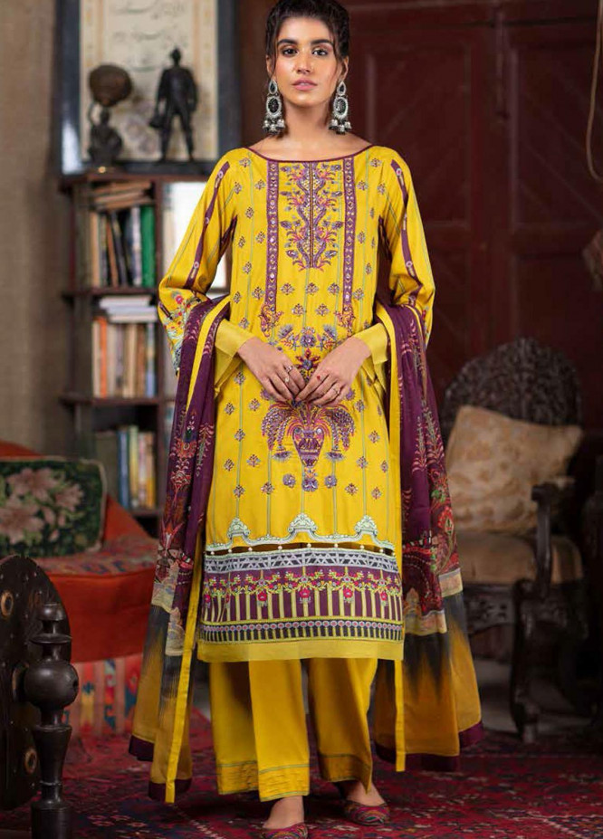 Zoya by Rang Rasiya Embroidered Linen Suits Unstitched 3 Piece RR21ZL 01 Jasmine - Winter Collection