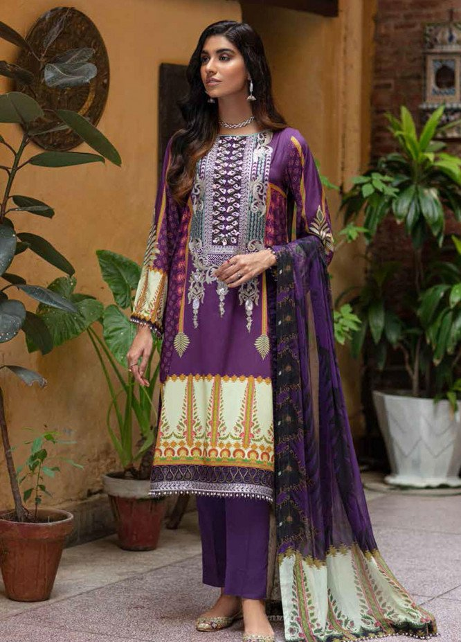 Zoya by Rang Rasiya Embroidered Linen Suits Unstitched 3 Piece RR21ZL 10 Berry - Winter Collection