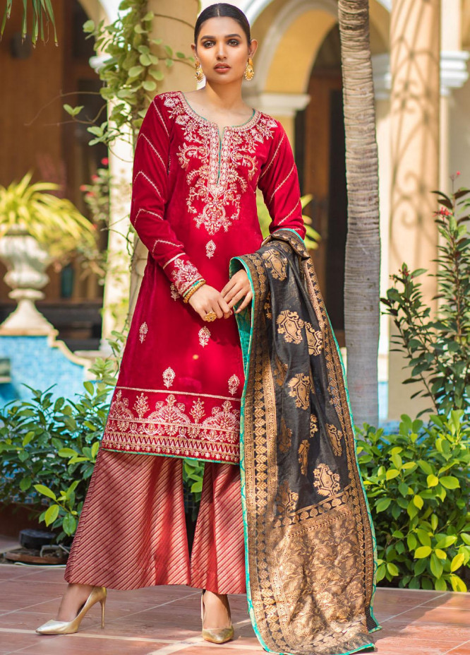 Zurich by ZS Textiles Embroidered Velvet Unstitched 3 Piece Suit ZS20Z 02 - Winter Collection