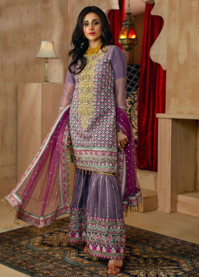 Zurr Haseen By AB Textiles Embroidered Organza Suits Unstitched 3 Piece AB21ZH 05 Khooni Neelam - Luxury Collection
