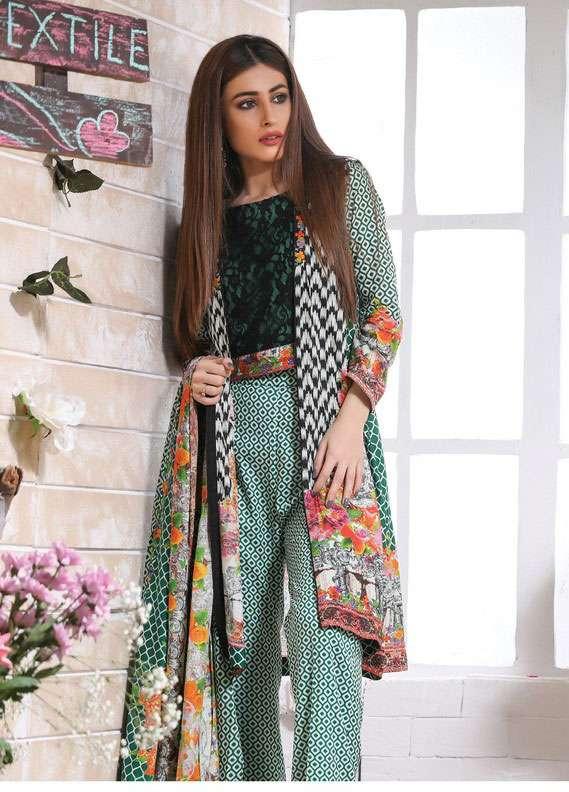 ZS Textile Printed Lawn Unstitched 3 Piece Suit RZS18L 11A - Spring / Summer Collection