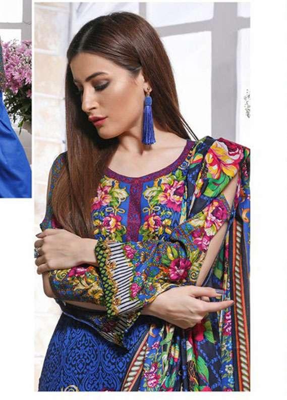 ZS Textile Printed Lawn Unstitched 3 Piece Suit RZS18L 12A - Spring / Summer Collection