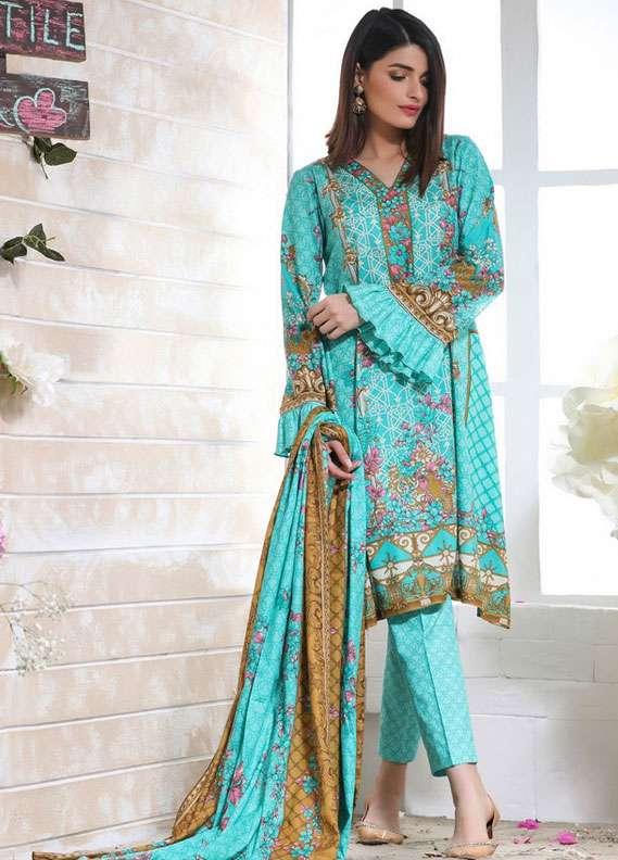 ZS Textile Printed Lawn Unstitched 3 Piece Suit RZS18L 1B - Spring / Summer Collection