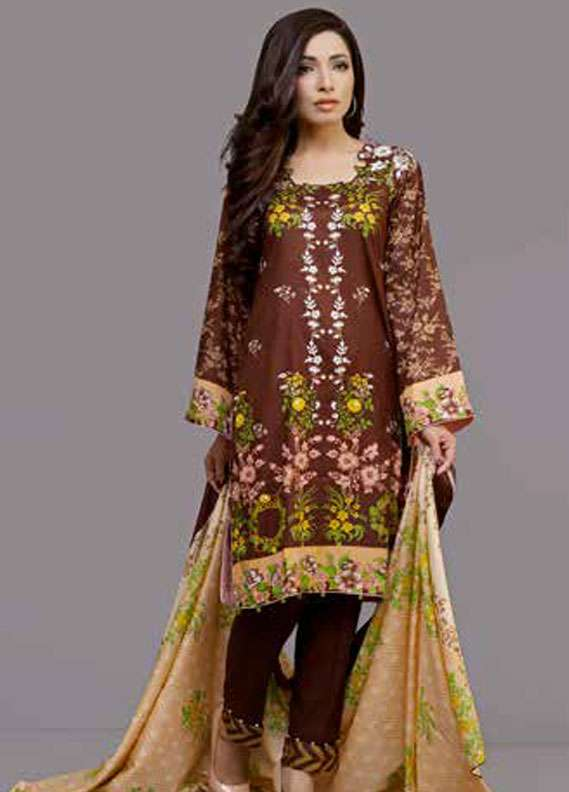 Monsoon Printed Lawn Unstitched 3 Piece Suit MN18L2 1C - Spring / Summer Collection