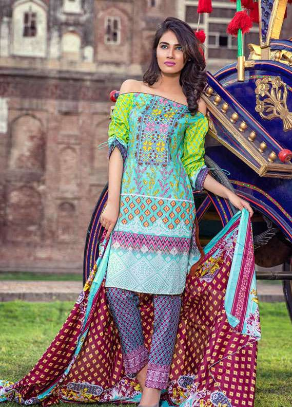 Al Zohaib Printed Lawn Unstitched 3 Piece Suit MN18L 2B - Spring / Summer Collection