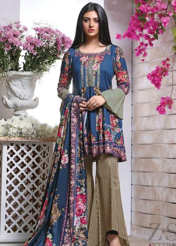 ZS Textile Printed Lawn Unstitched 3 Piece Suit RZS18L 3B - Spring / Summer Collection