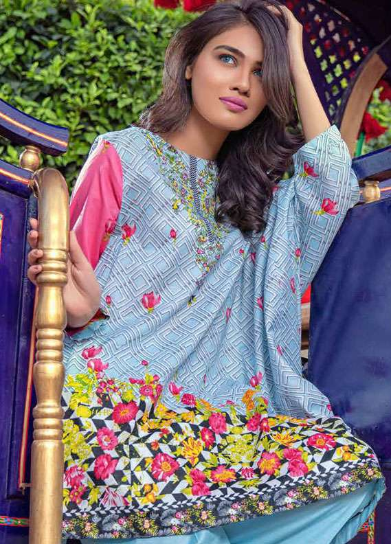 Monsoon Printed Lawn Unstitched 3 Piece Suit MN18L2 4A - Spring / Summer Collection