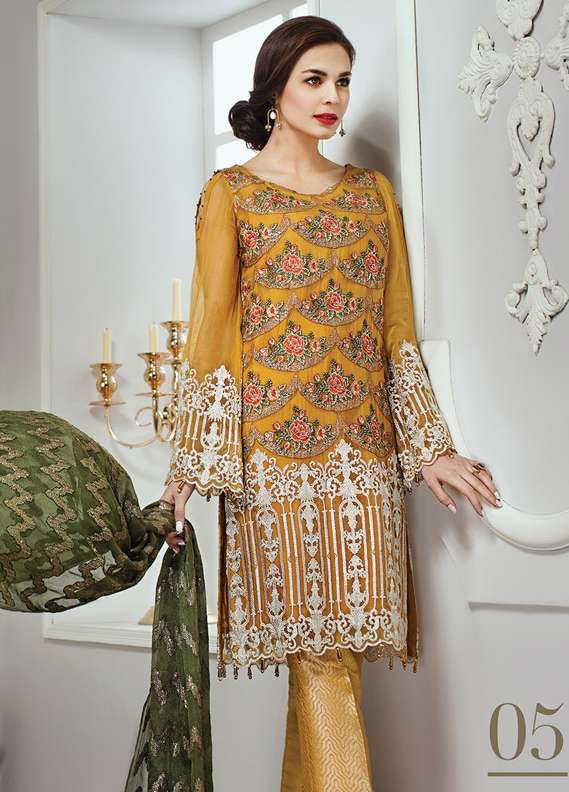 Baroque Embroidered Chiffon Unstitched 3 Piece Suit JZ18C 05 - Chiffon Collection