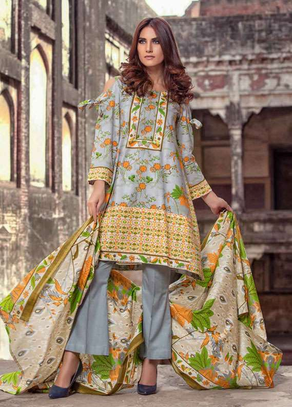 Monsoon Printed Lawn Unstitched 3 Piece Suit MN18L2 5B - Spring / Summer Collection