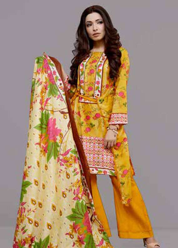 Monsoon Printed Lawn Unstitched 3 Piece Suit MN18L2 5C - Spring / Summer Collection