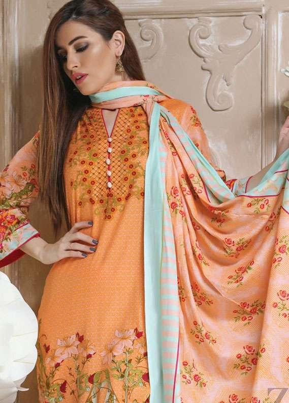ZS Textile Printed Lawn Unstitched 3 Piece Suit RZS18L 6B - Spring / Summer Collection