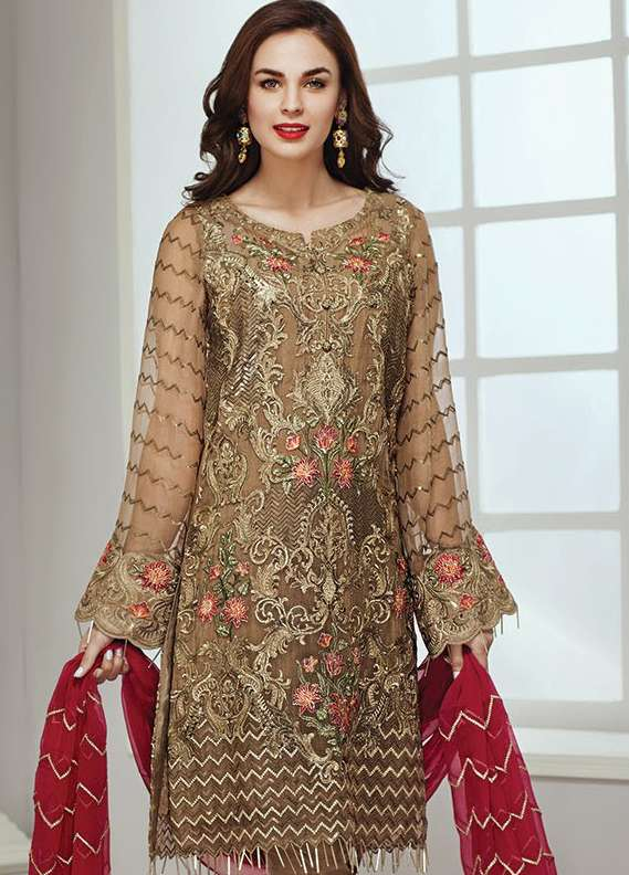 Baroque Embroidered Chiffon Unstitched 3 Piece Suit JZ18C 08 - Chiffon Collection