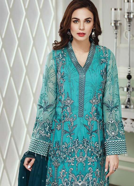 Baroque Embroidered Chiffon Unstitched 3 Piece Suit JZ18C 09 - Chiffon Collection