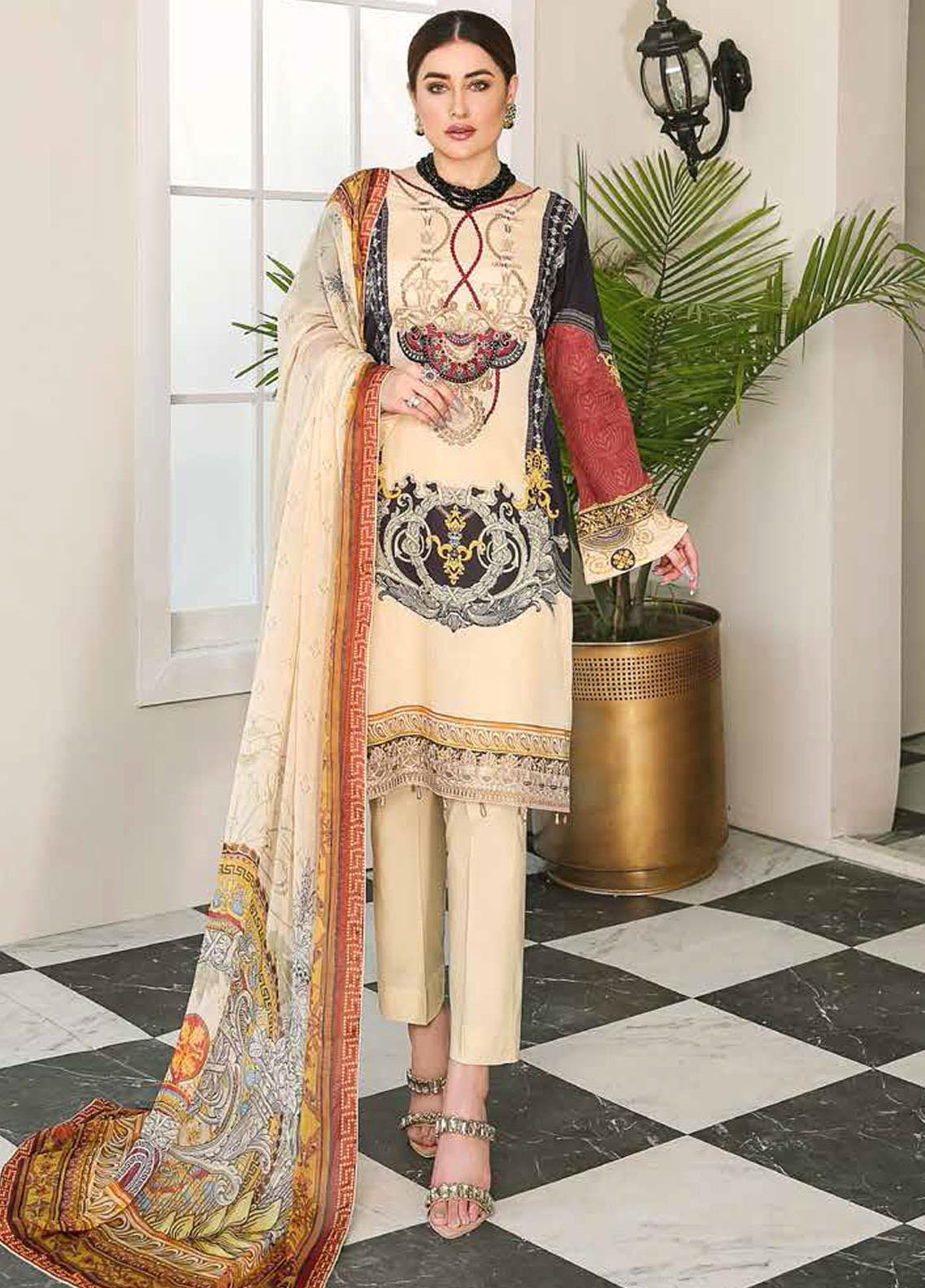 Dastoor by Ramsha Embroidered Lawn Suits Unstitched 3 Piece R21DT G-03 DISTINCT FLAIR - Summer Collection