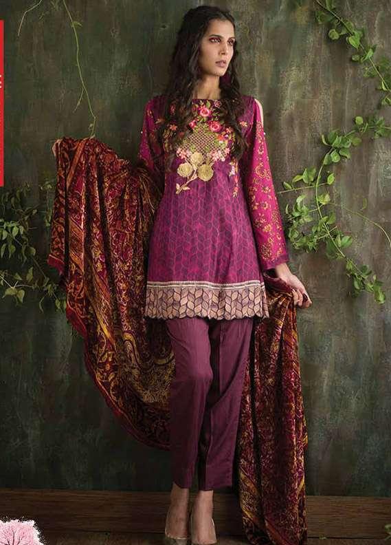 Deeba Embroidered Velvet Unstitched 3 Piece Suit DB17V 1A