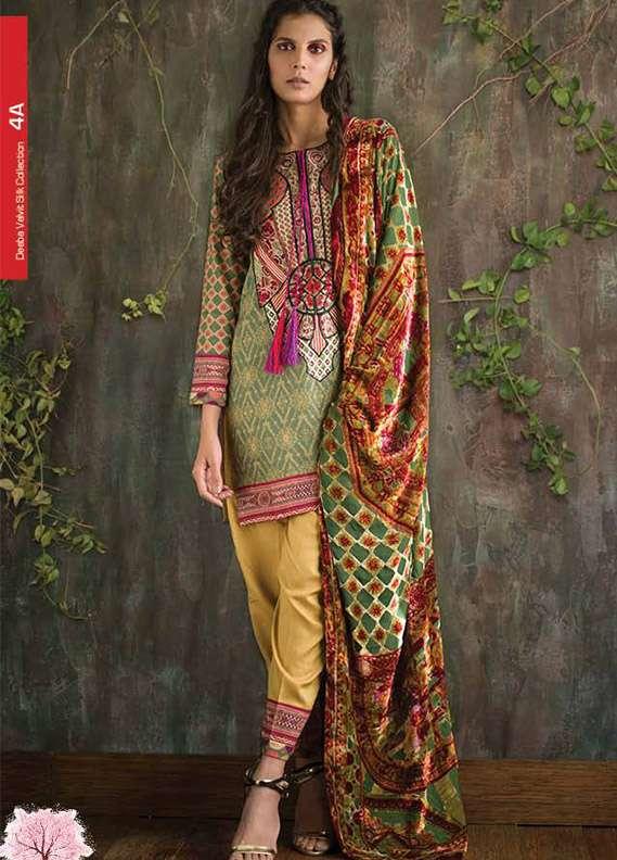 Deeba Embroidered Velvet Unstitched 3 Piece Suit DB17V 4A
