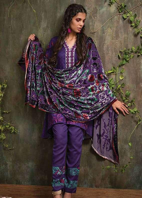 Deeba Embroidered Velvet Unstitched 3 Piece Suit DB17V 5A