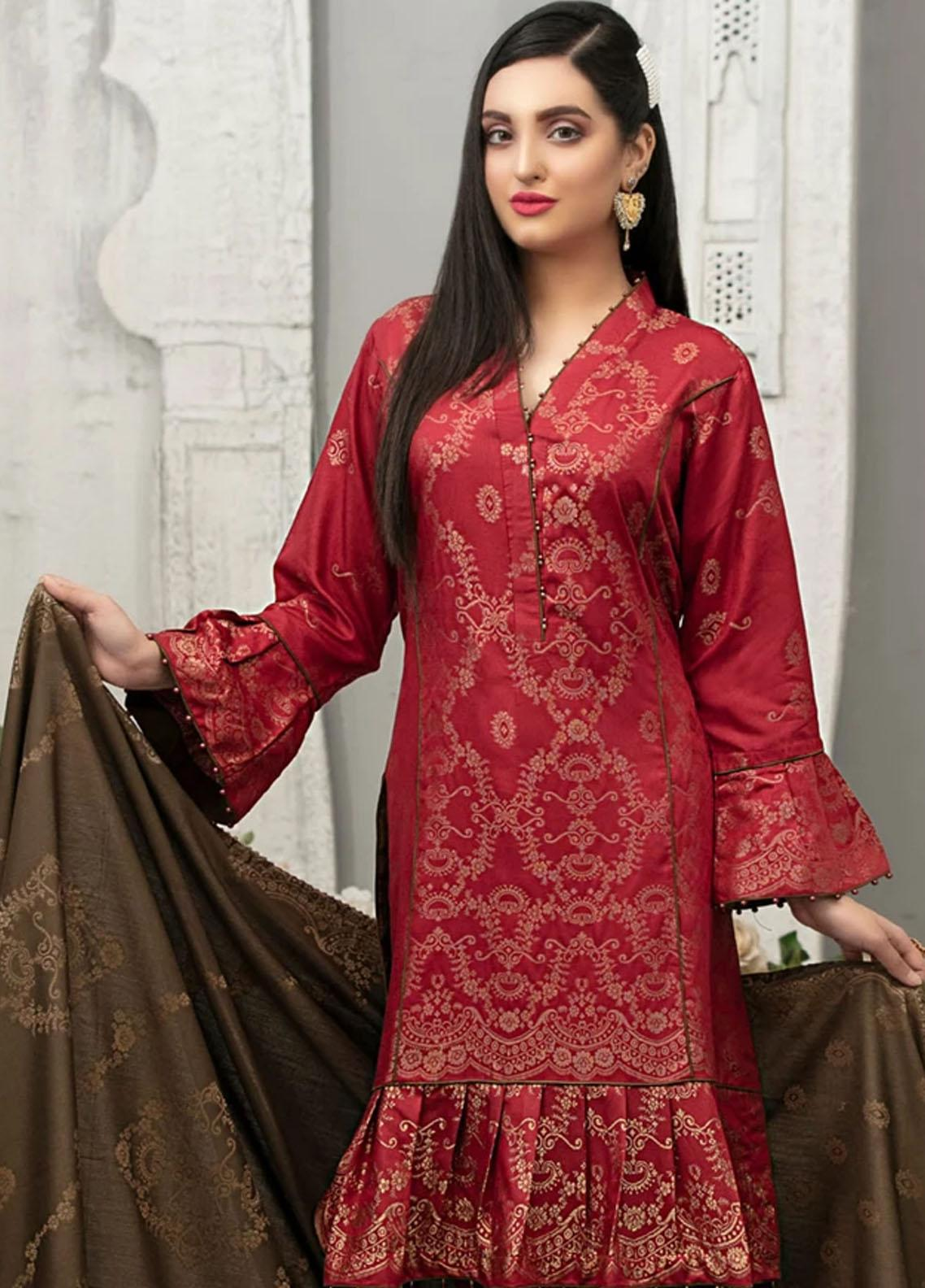 Delilah by Riaz Arts Broschia Banarsi Viscose Unstitched 3 Piece Suit RA20DV 201 - Winter Collection