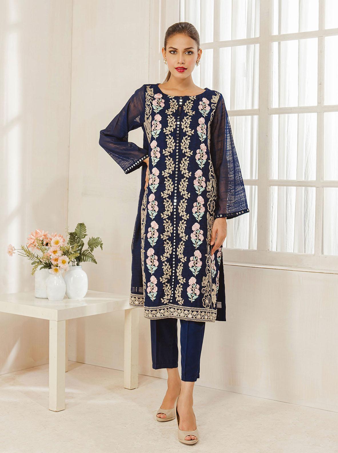 Dhanak Embroidered Khaadi Net Stitched Kurti DA-1194 Blue