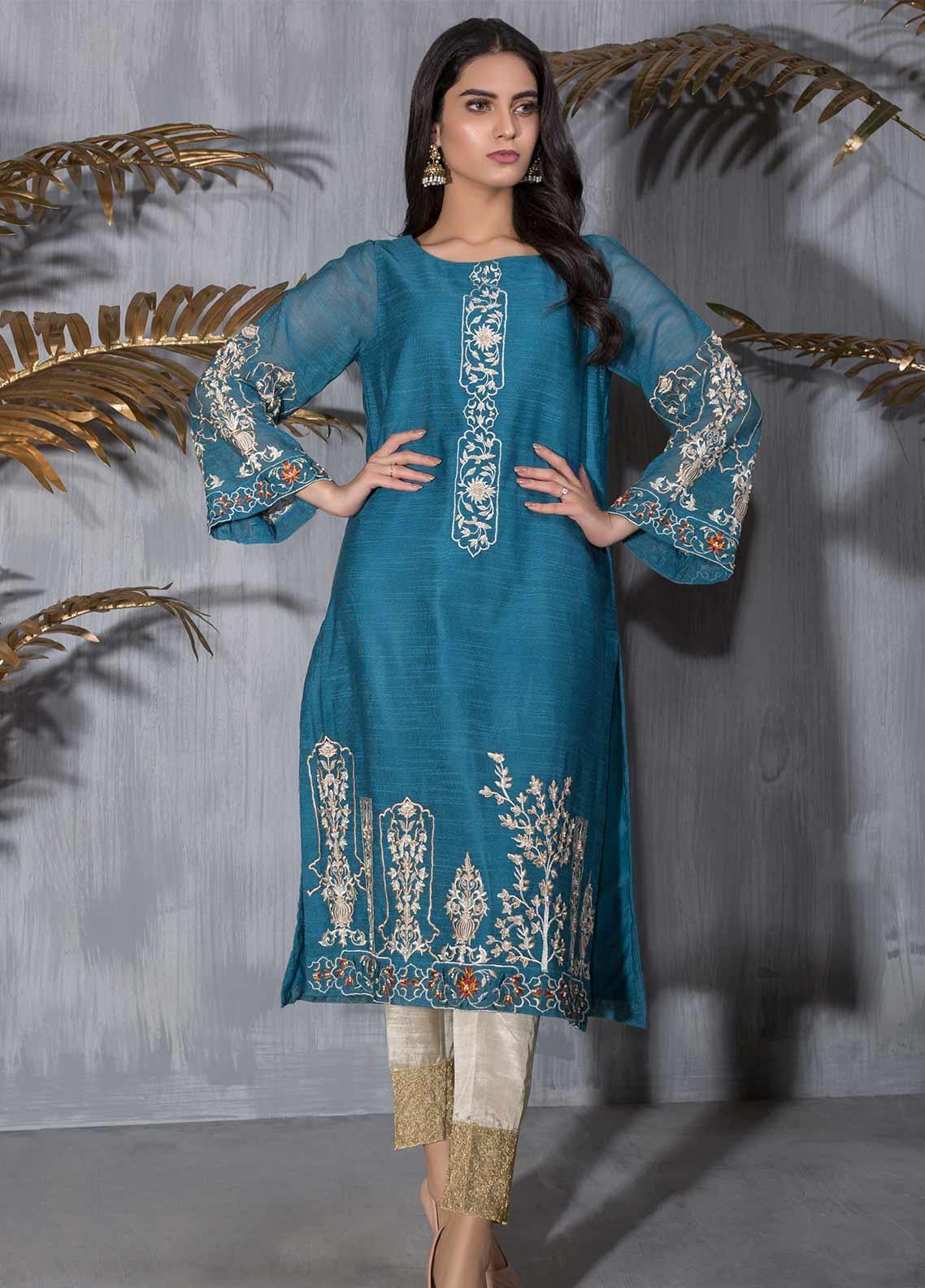 Dhanak Embroidered Khaadi Net Stitched Kurties DA-1208 BLUE
