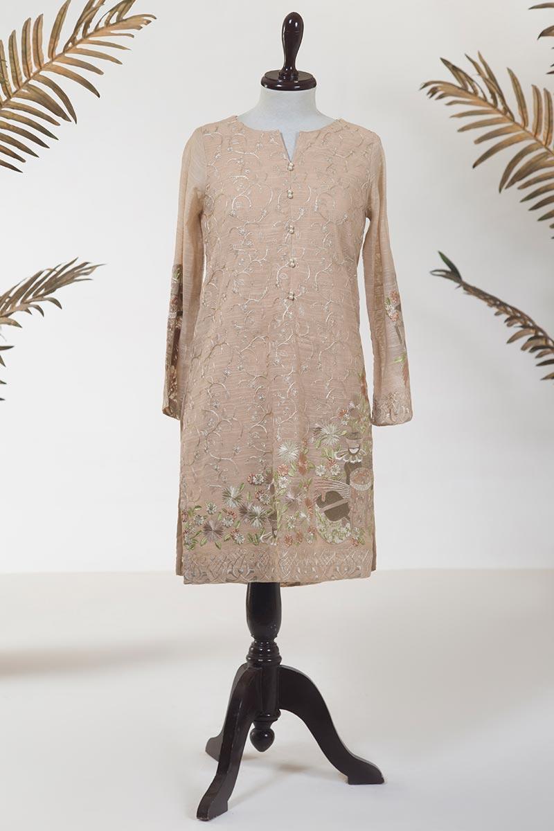 Dhanak Embroidered Khaadi Net Stitched Kurti DA-1224 Beige