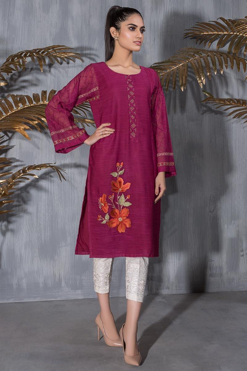 Dhanak Embroidered Khaadi Net Stitched Kurti DA-1228 Maroon