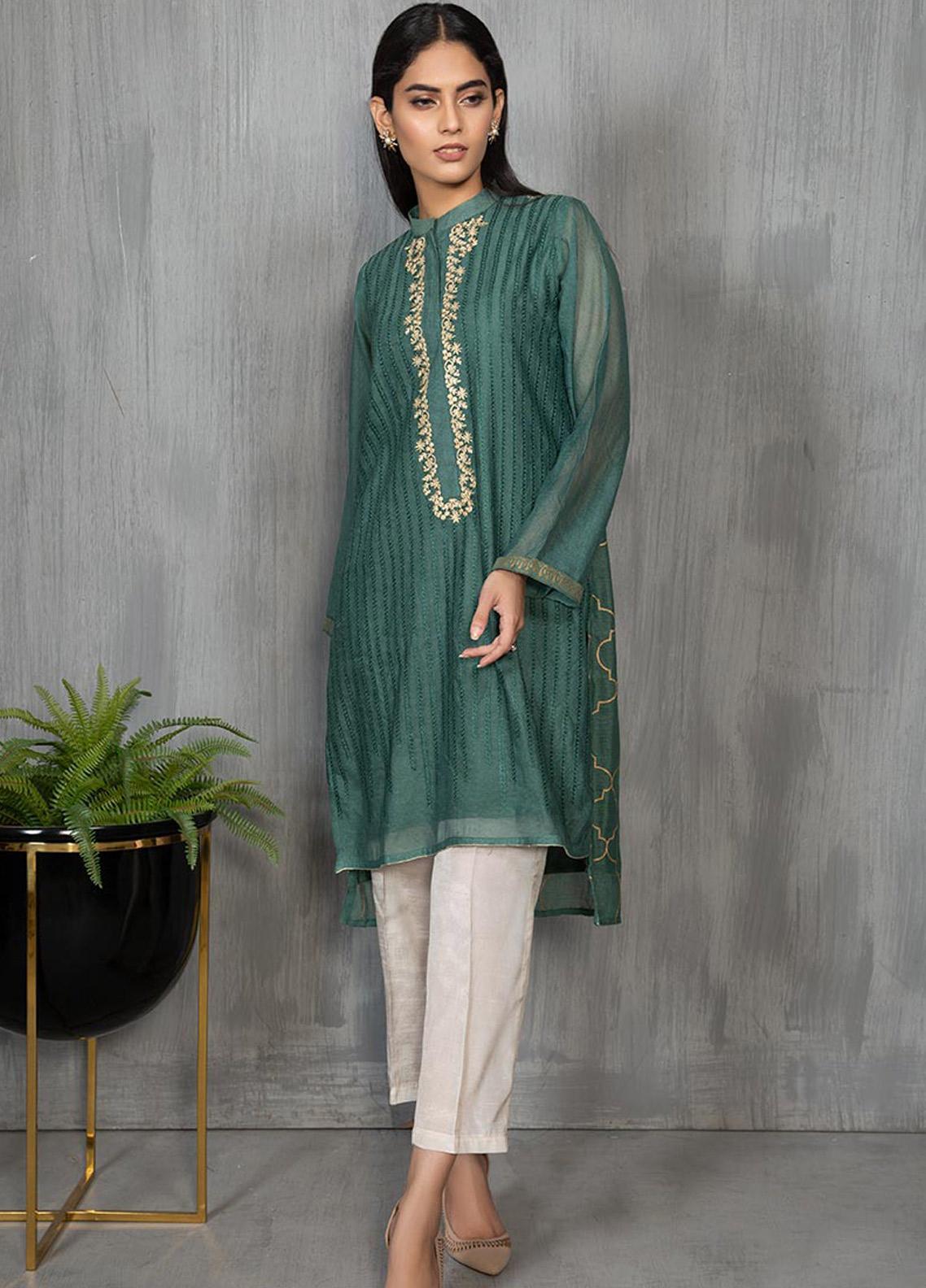 Dhanak Formal Khaadi Net Stitched Kurti DA-1265 GREEN
