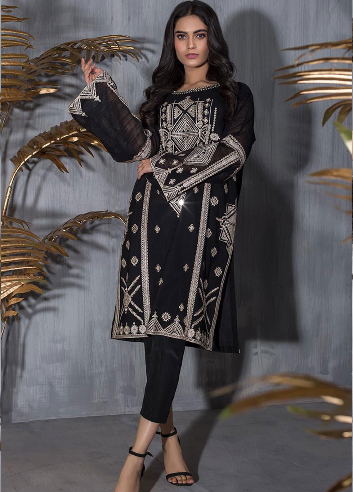 Dhanak Embroidered Khaadi Net Stitched Kurti DA-1227 BLACK