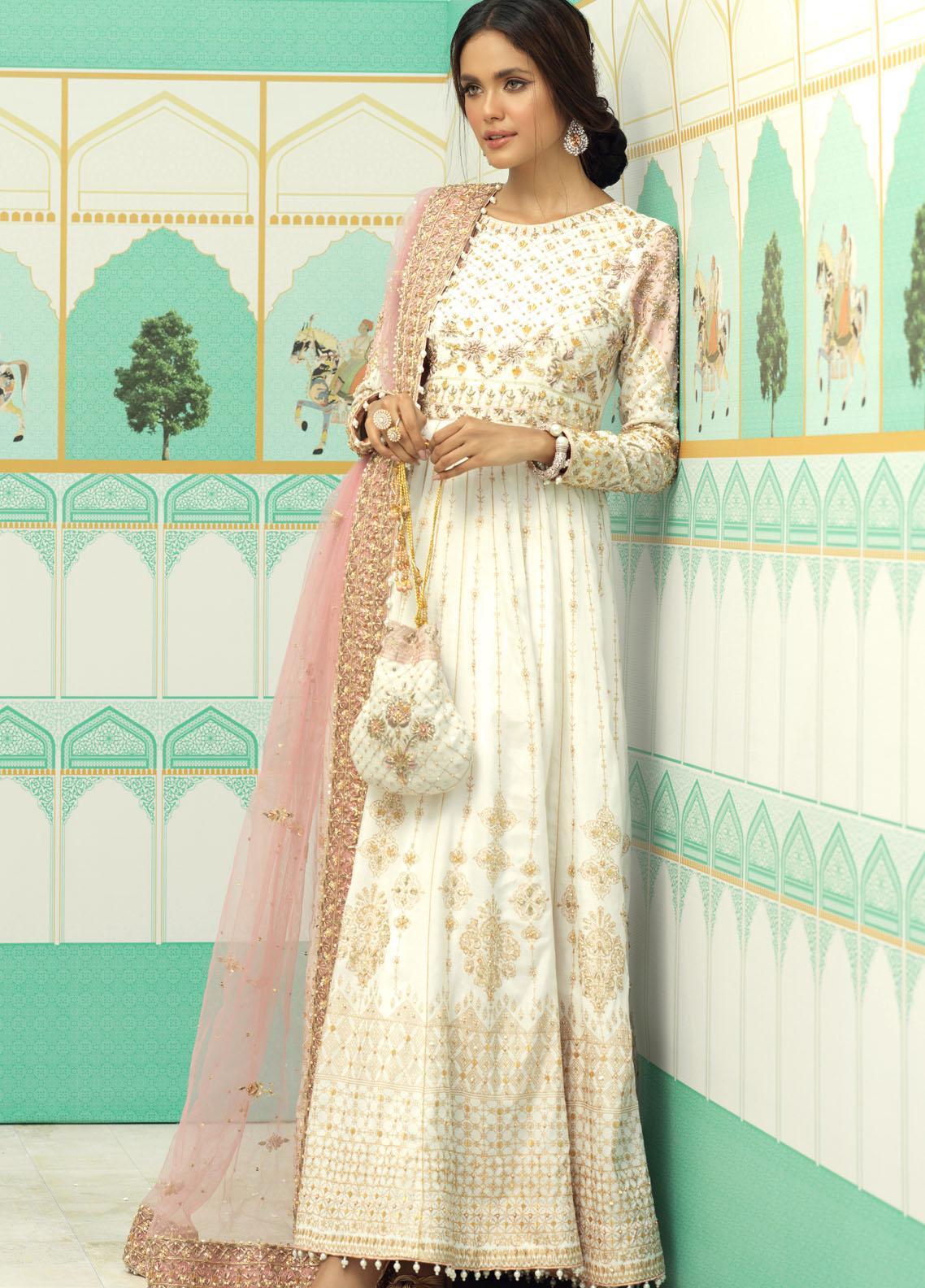 Zaaviay Luxury Pret Embroidered Raw Silk 3 Piece Dress AYLEEN