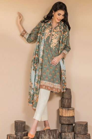 Zeen By Cambridge Embroidered Linen Unstitched 3 Piece Suit ED17W 377012