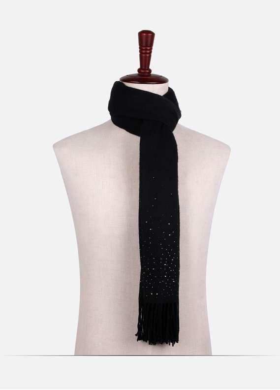 Black Stone Work Wool Stoles for women - ED18W 119