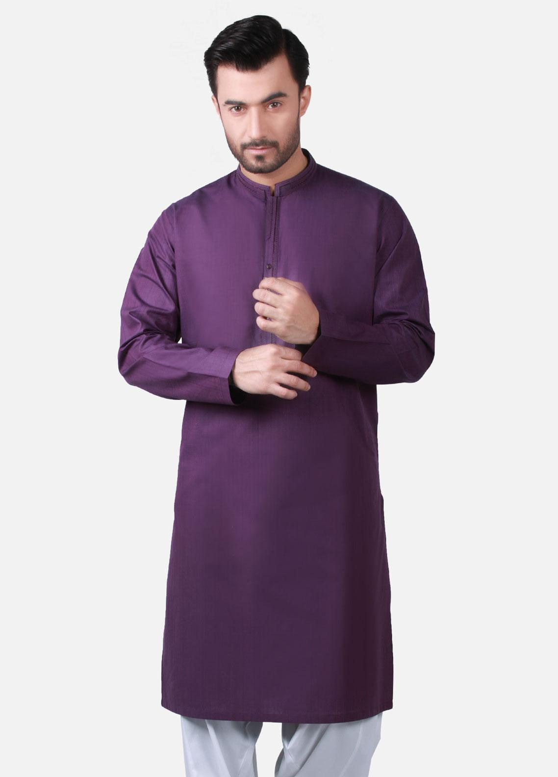 Edenrobe Cotton Formal Men Kurtas - Purple EMTK19S-9755