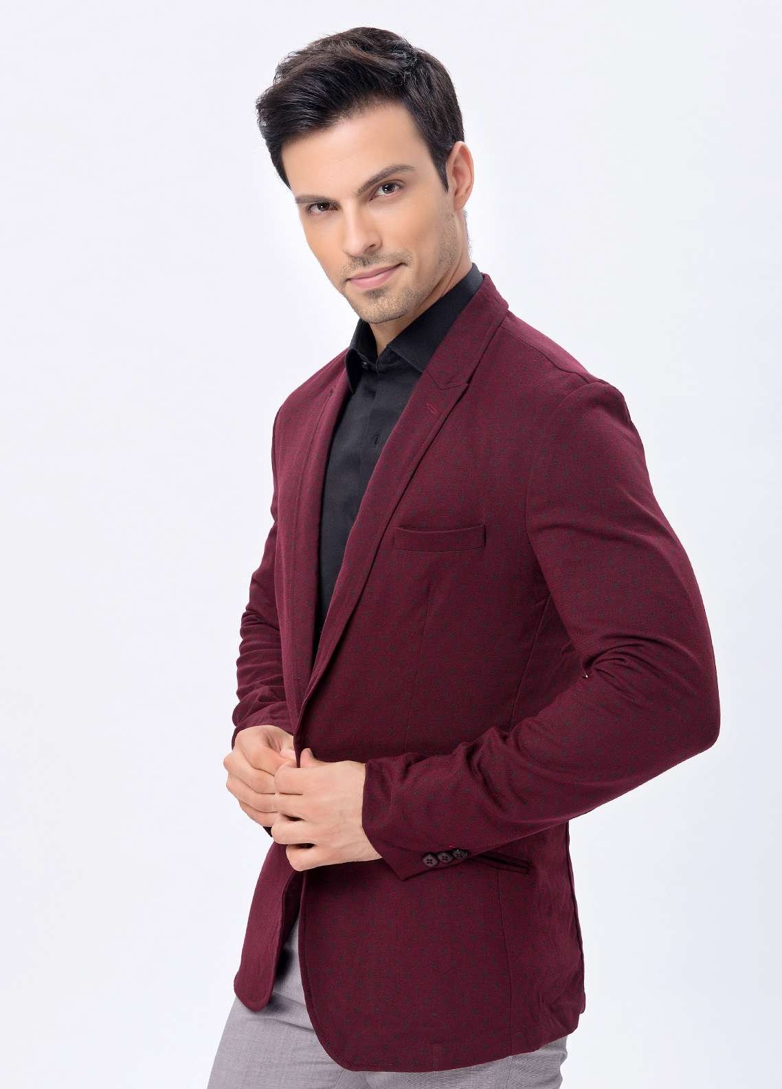 Edenrobe Cotton Casual Blazers for Men - Maroon EDM18B-6615