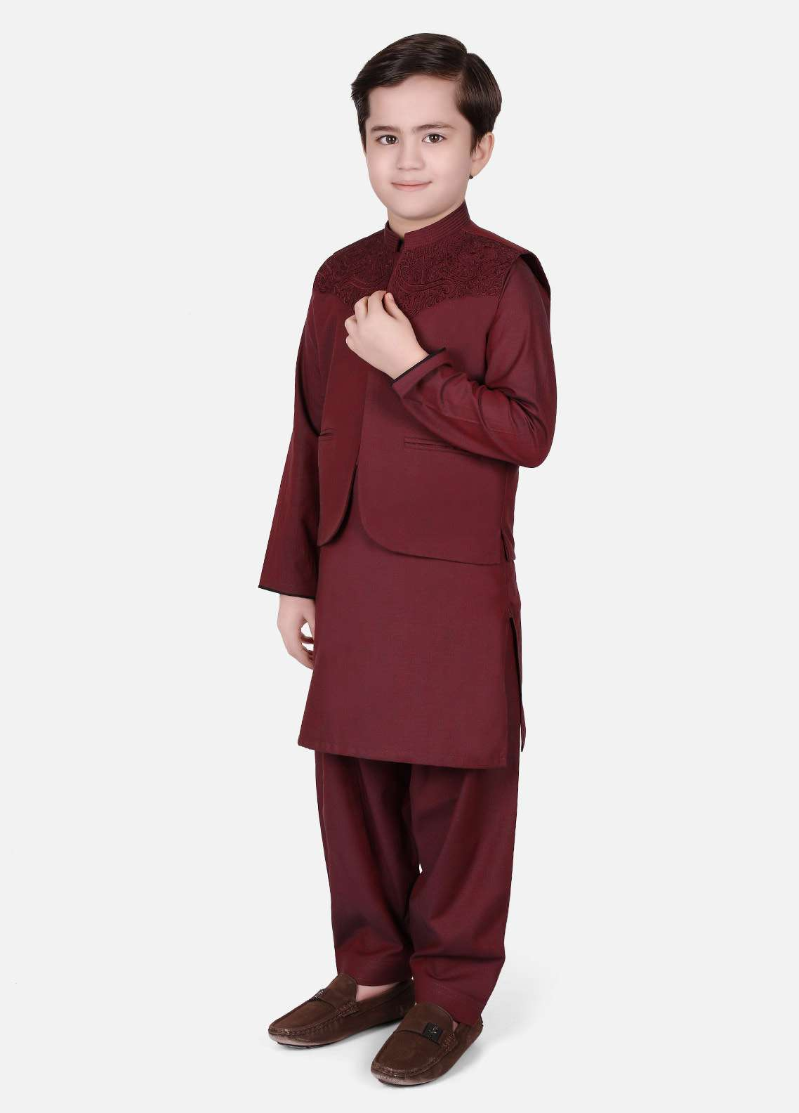 Edenrobe Cotton Embroidered Boys Waistcoat Suits - Maroon EDW18B 002