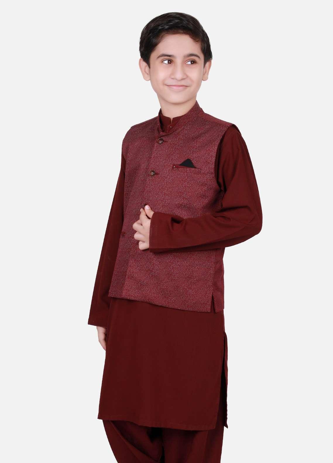 Edenrobe Cotton Plain Texture Boys Waistcoat Suits - Maroon EDW18B 25073