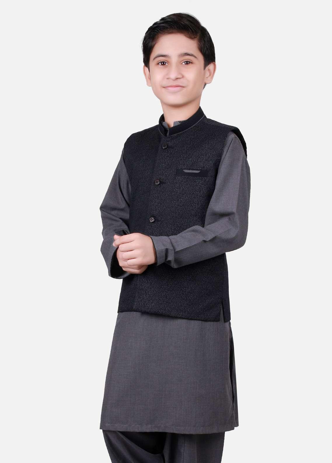 Edenrobe Cotton Plain Texture Boys Waistcoat Suits - Grey EDW18B 25074