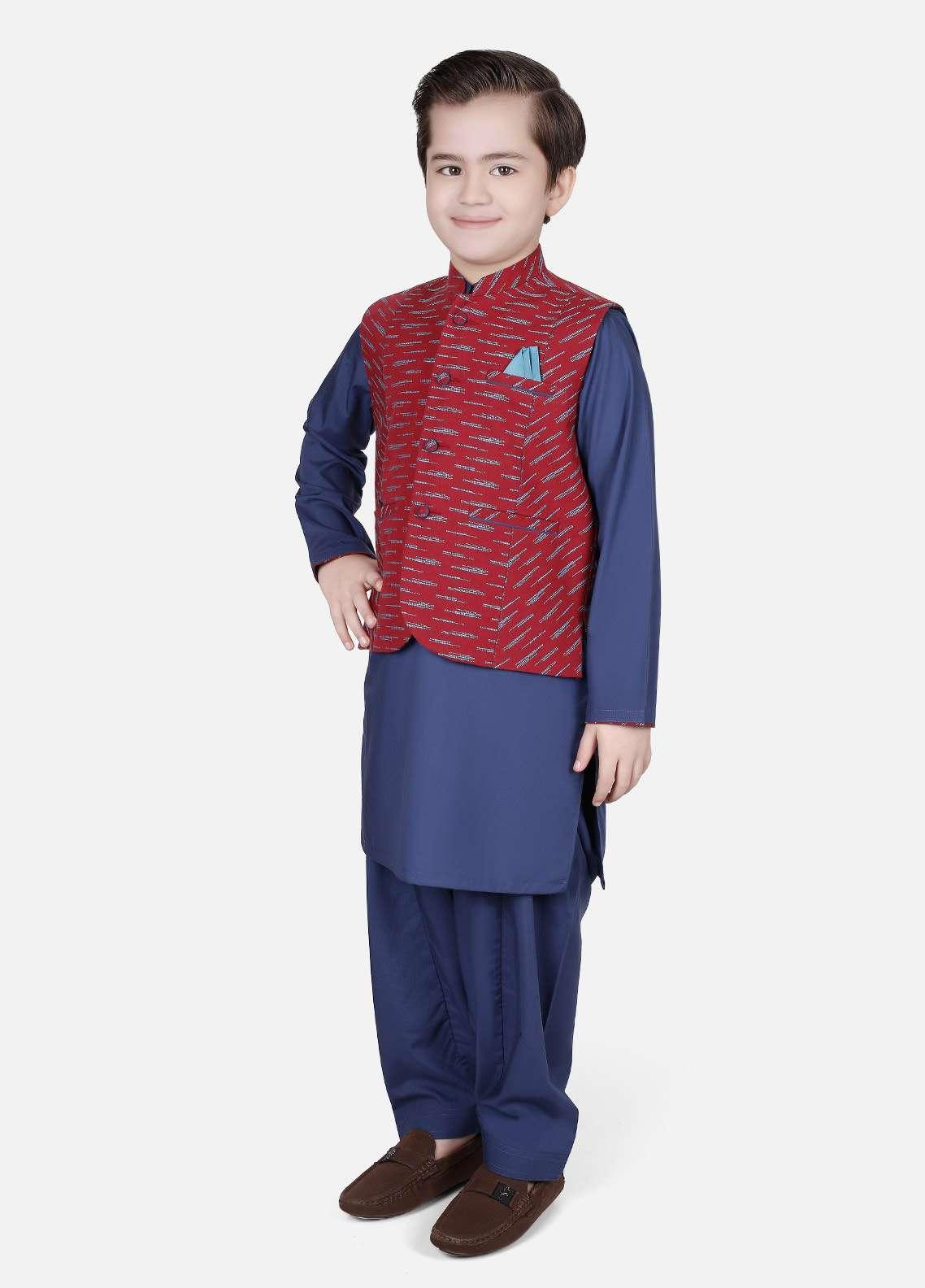 Edenrobe Cotton Fancy Boys Waistcoat Suits - Navy Blue EDW18B 25077