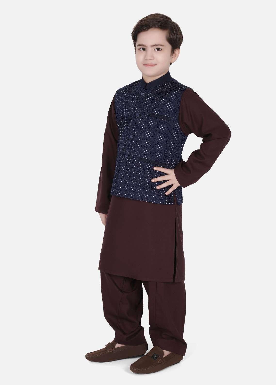 Edenrobe Cotton Fancy Boys Waistcoat Suits - Burgundy EDW18B 25078-1